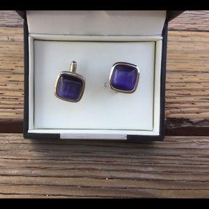 Geoffrey Beene Purple Gemstone Cuff Link